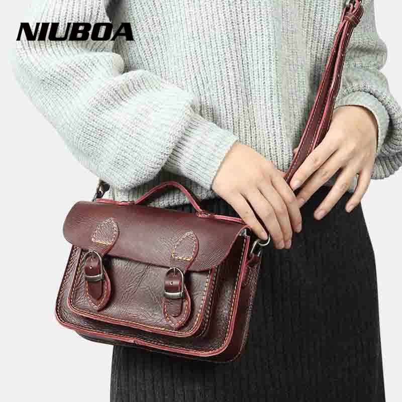 NIUBOA Hot Sale Lady Shoulder Bag Women Genuine Leather Satchel Messenger Crossbody Bag Summer Flap Cowhide Small Shoulder Bags-in Top-Handle Bags from Luggage & Bags    1