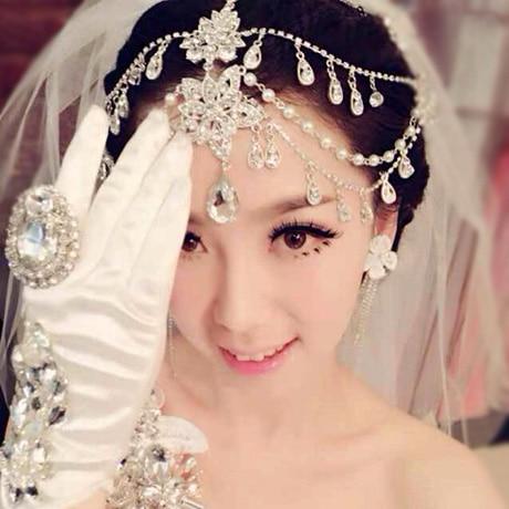 Good Qiao jewelry bride headdress frontlet pendant necklace jewelry Korean wedding eyebrows three suit dress ornaments