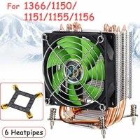 90mm 3Pin 6 miedziane rury ciepła chłodnica procesora radiator ciche wentylatory radiator chłodzący dla Intel dla Intel LGA775/1366/1155 z żelazną siatką w Wentylatory i chłodzenie od Komputer i biuro na