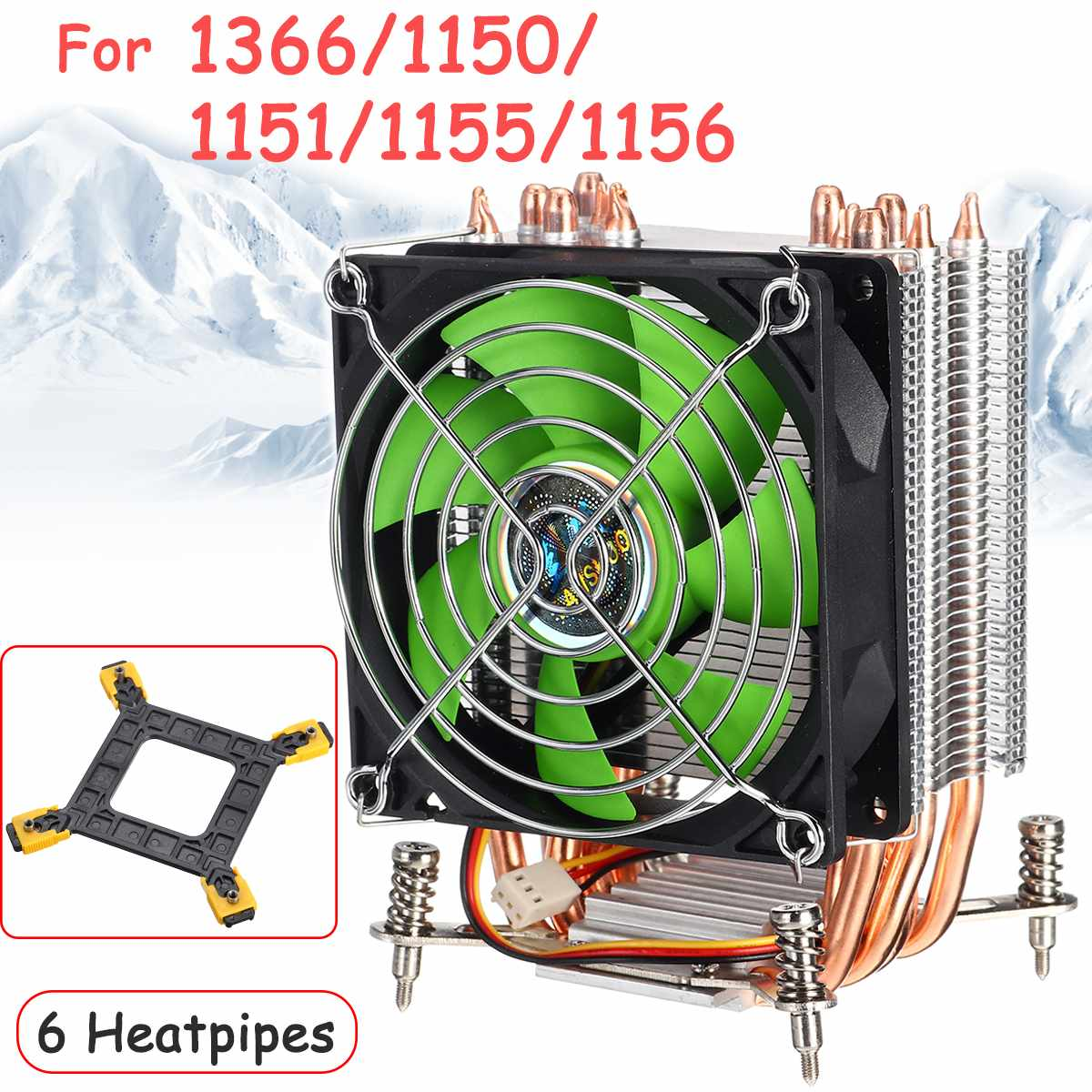90mm 3Pin 6 Copper Heat Pipes CPU Cooler Heatsink Quiet Fans Cooling Heatsink for Intel for Intel LGA775/1366/1155 with Iron Net image