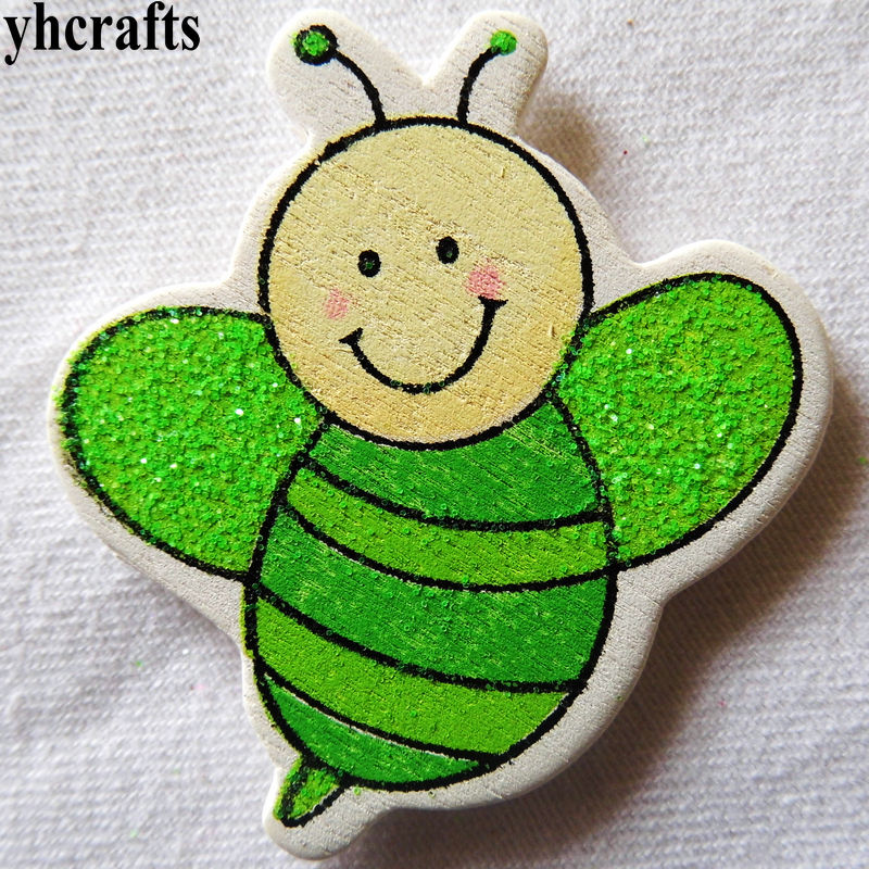 10pcs/lot,glitter Green Bee Wood Stickers Spring Easter Crafts Plant Garden Decoration.wall Fridge Stickers Early Learning Toys Classic Toys
