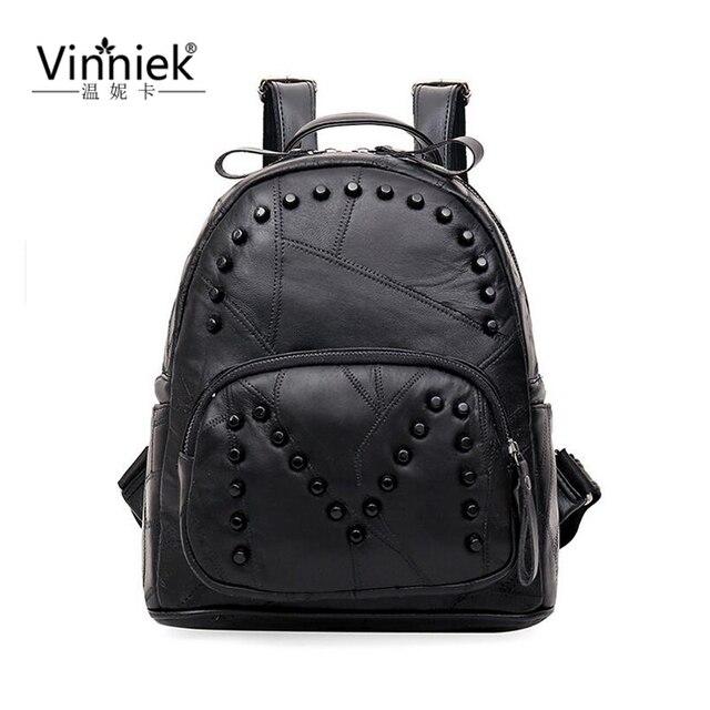 Genuine Leather Luxury Women Backpack Travel School Bags For Teenage Girls Small Laptop Backpack Rivet Casual Daypacks mochilas