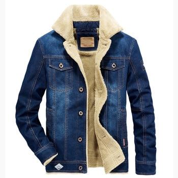 2018 AFS JEEP Winter Denim Jacket Men Thick Warm Fleece Jeans Coat Men Windbreaker Mens Outwear Big Size M-6XL Denim Parka Men