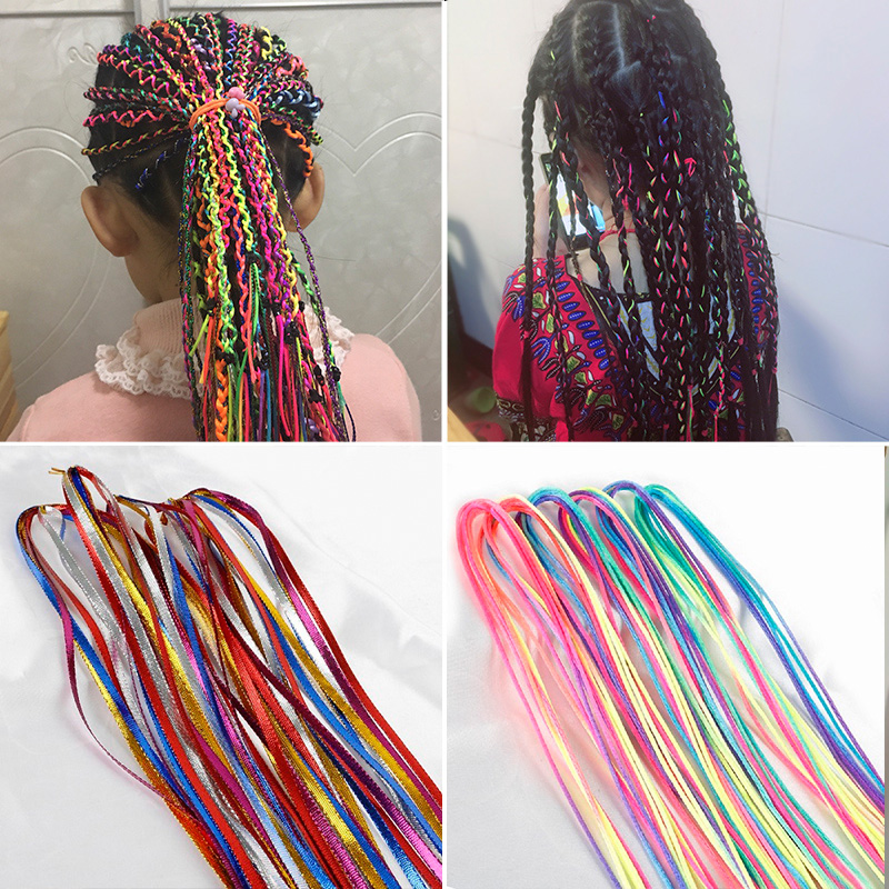 90cm 5~100Pcs/Set Mix Color Twist Knitting Hair Braided Handmade Ribbon Woven Rope Braided Hair Styling Tool Accessories