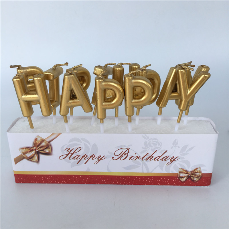 Gold Happy Birthday Letter Cake Party Festival Supplies Lovely English Candles For Kitchen Baking Gift In Decorating From