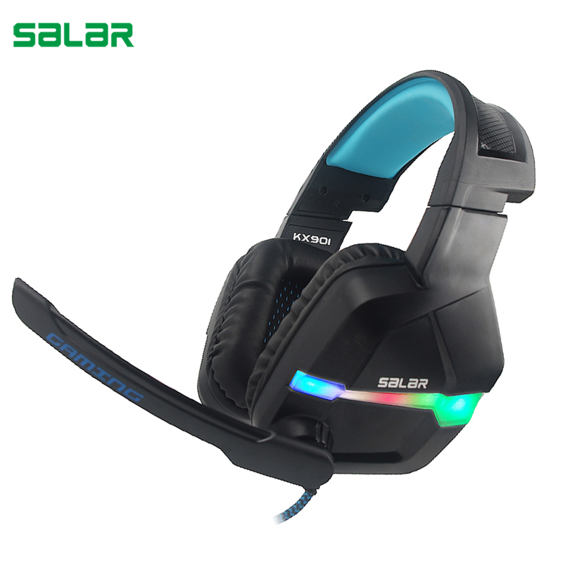 Salar KX901 Gaming Headset Wired Headband with Mic/LED Light Over Ear Stereo Deep Bass for Computer Gamer Earphone Headphones pc gaming headset gm 3 wired stereo led light bass over ear professional gaming headphones with 3 5mm mic noise isolating
