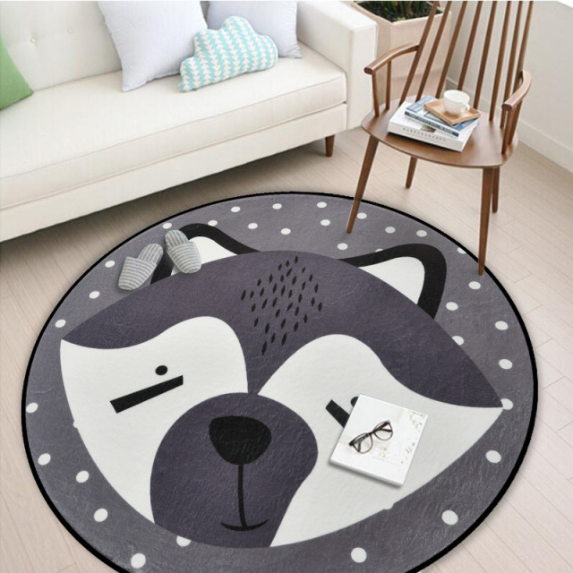 White And Grey Bear Fox Panda Round Carpets For Living Room Rugs