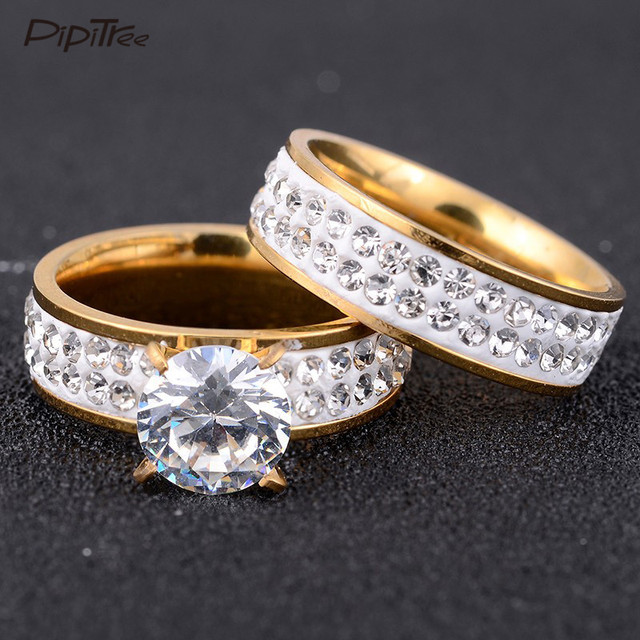 2pcsset2017 new fashion gold color stainless steel wedding ring set cz crystal - Stainless Steel Wedding Ring Sets