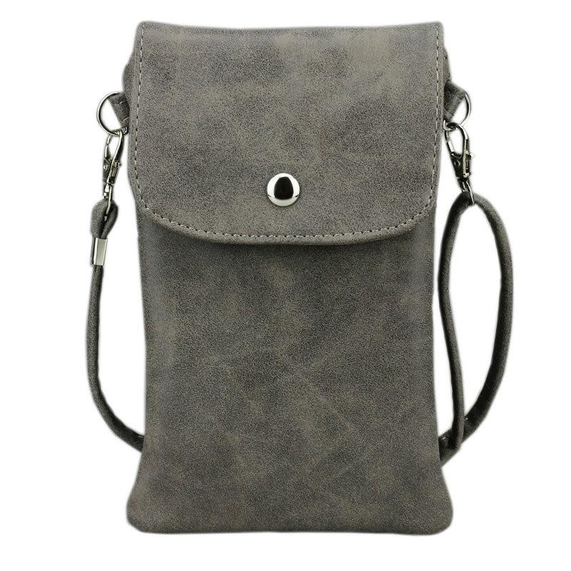 Schoudertasje Mobiel : Inch cell phone bag matte leather pouch purse wallet