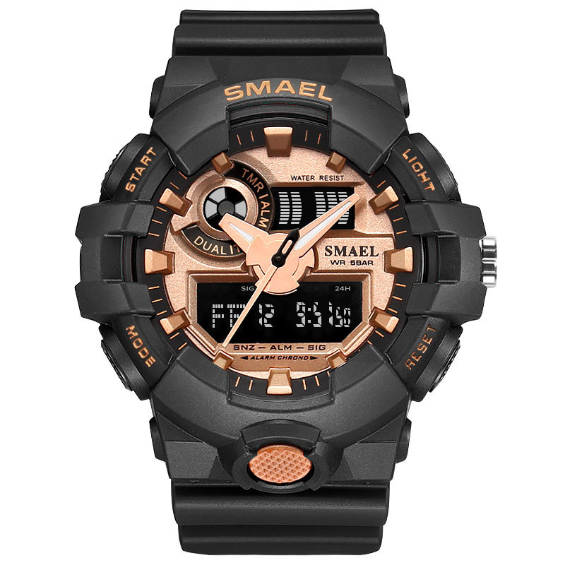 Military Digital Sport Watches Electronic Clock LED 50M Waterproof Wristwatch Army Reloj Hombre Gold