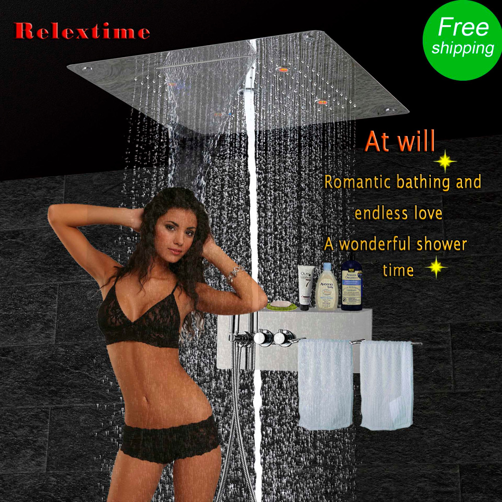 Bathroom Accessories Shower Faucet Stainless Steel Shelf Towel Rack Wall Thermostatic Panel Valve LED Ceiling Shower Head JF5307 wa20p cd [ rack panel 4pin 2contacts rack and panel]