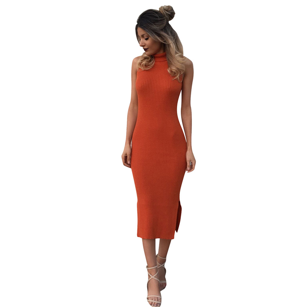 Women Sexy Bandage Sweater Dress Sleeveless Turtleneck Solid Autumn Knitted Long Dress Robe Club Party Dress Bottoming Vestidos