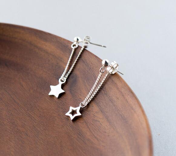 asymmetric earrings Real. 925-STERLING-SILVER polished /open Star &bead lucky Dangle Earrings long jewelry for ladys GTLE1115asymmetric earrings Real. 925-STERLING-SILVER polished /open Star &bead lucky Dangle Earrings long jewelry for ladys GTLE1115