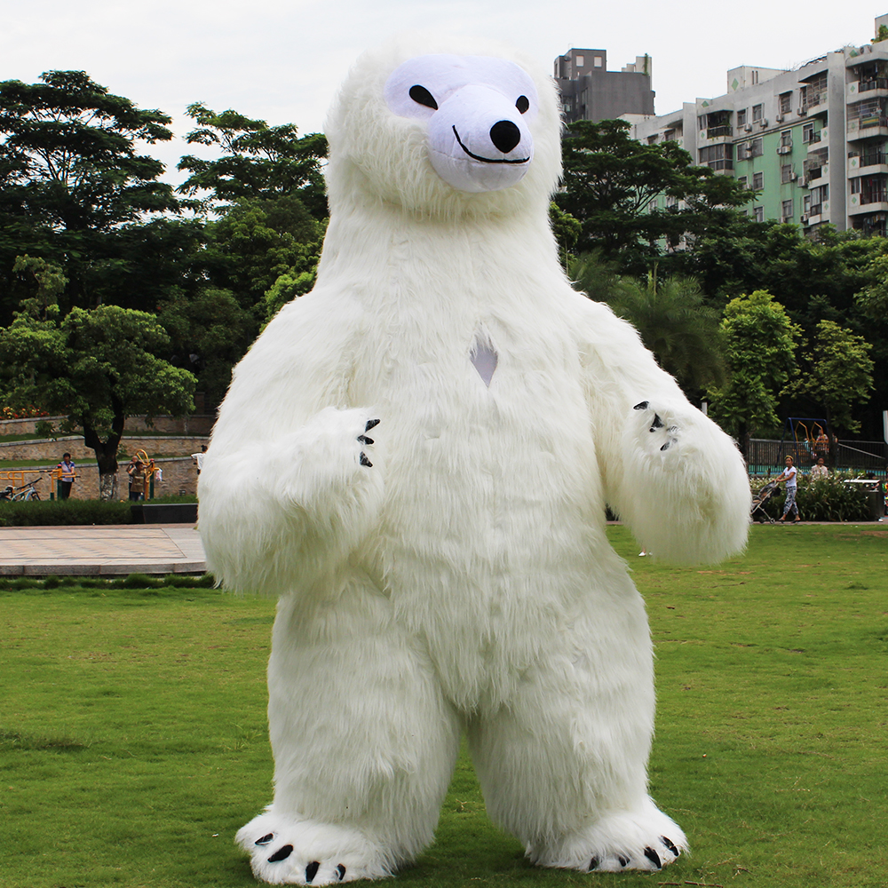 2.6M Tall Inflatable Costume Adult Polar Bear Inflatable Costumes Blow Up Fancy Dress Mascot Cosplay Costume for 1.6M - 1.88M Ad