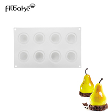 FILBAKE 1PCS 8 Holes Silicone Cake Molds Pear Shape Moulds For Baking Desserts Decorating Tools Chocolate Ice Mold