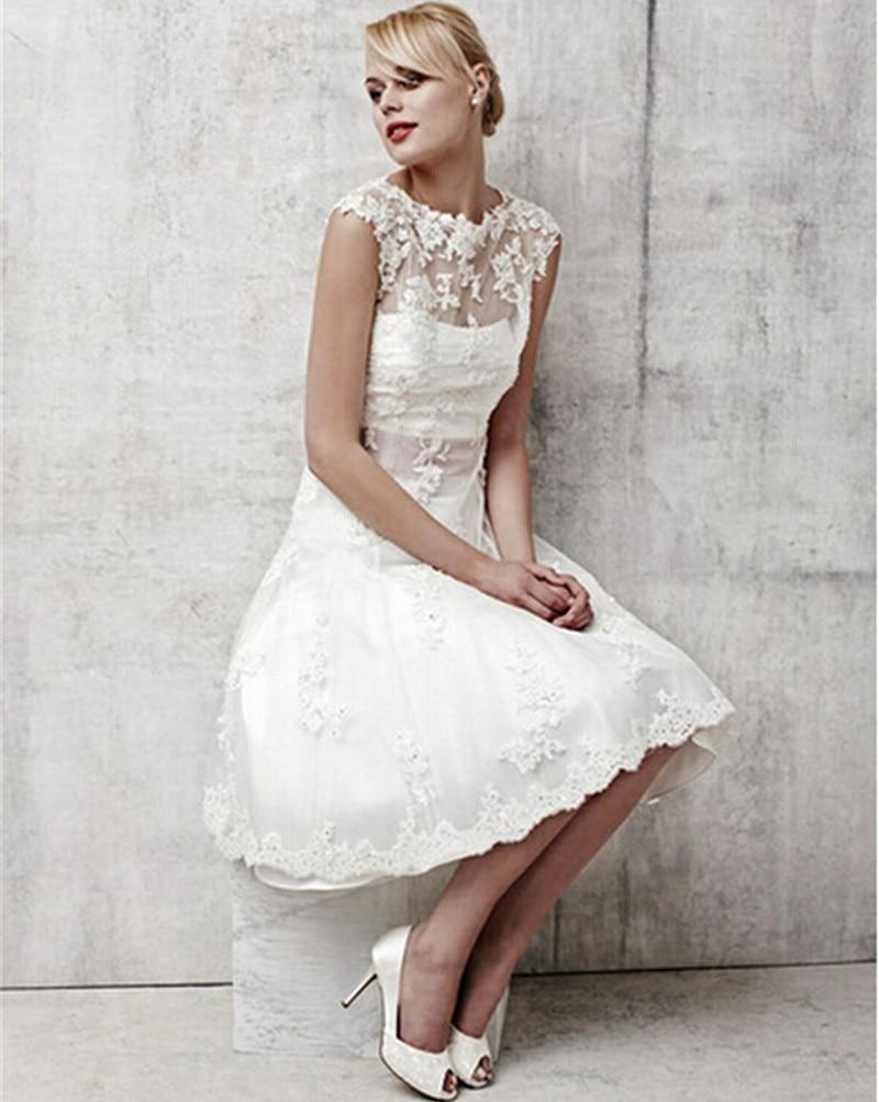 Vintage White Lace Bridal gown Short 2018 Elegant Knee Length party Gowns Robe De Mariage Vestido Noiva Curto   bridesmaid     dresses