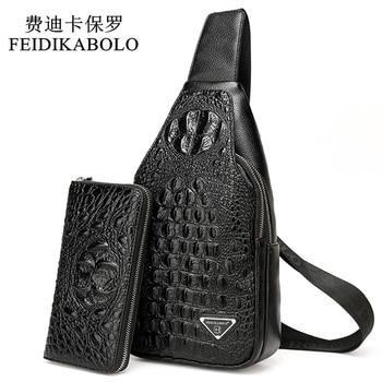 FEIDIKABOLO 3D Crocodile Men Chest Pack Leather Travel Men's Crossbody Bags Male Shoulder Bag Back Bag Rucksack Men Clutch Purse