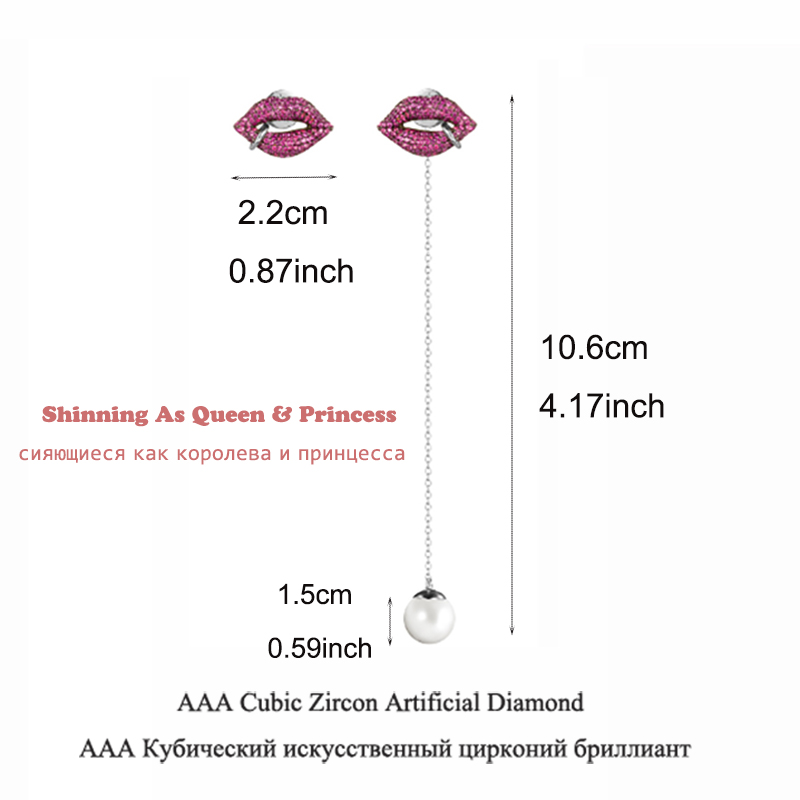 Image 2 - Famous Red Lips Mismatch Long Earrings Cubic Zirconia Pave Simulated Pearl Drop Earrings For Women Party Fashion Jewelry AE298-in Drop Earrings from Jewelry & Accessories on AliExpress