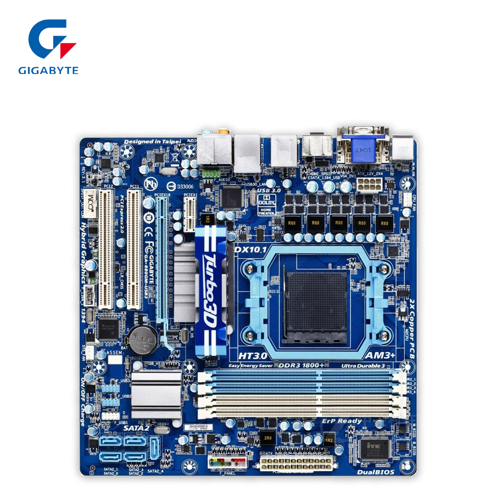 Gigabyte GA-880GM-USB3L Original Used Desktop Motherboard 880GM-USB3L  AMD 880G Socket AM3+  DDR3 SATA2 USB2.0 Micro ATX мышь проводная gigabyte gm m5050x 546823 usb