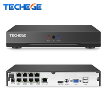 Techege 8CH 1080P POE NVR HD 48V Real PoE Network Video NVR IEEE802.3af for PoE IP Cameras ONVIF FTP P2P Cloud XMeye CCTV System