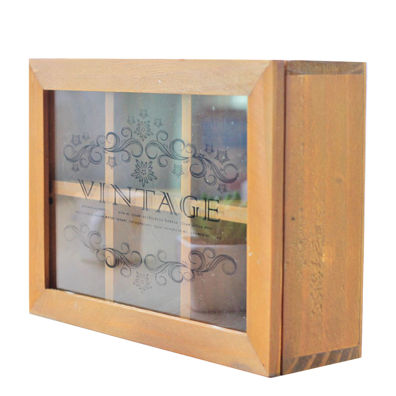 Us 25 73 40 Off Antique Stand Wooden Box Gl Cover Large Storage Cabinet 6 Lattice Kitchen Bathroom Decoration Holder Home In