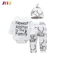 ZOFZ Baby Boy Clothes 3pcs Set O Neck Fashion Letter Print Bebes Sets For Girls Cotton