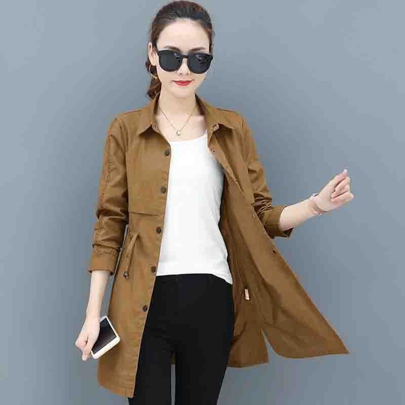 Trench   Coat For Women 2019 Spring Autumn Single-breasted Slim Medium Long Coat Long sleeve Plus size Casual Windbreaker Overcoat
