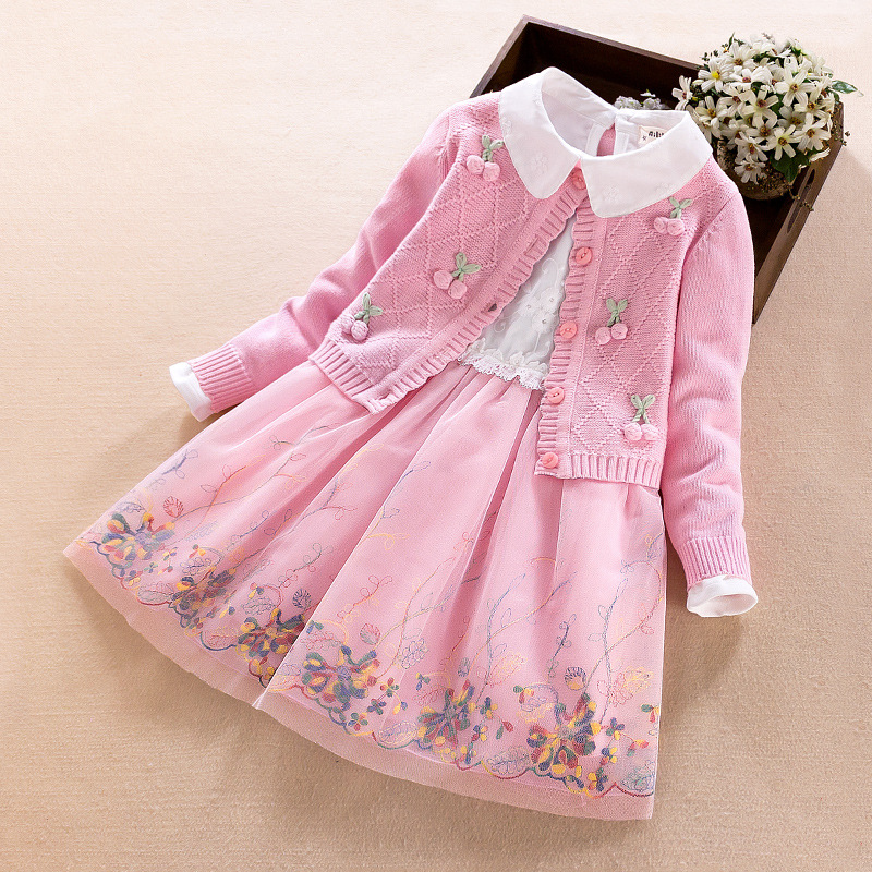 Girls clothing set New autumn winter Children's long-sleeved sweater cotton coat+dress two-piece cardigan suit 3 4 6 5 8 9 Years autumn and winter wear new suit children sweater hooded culottes two piece suit for girls