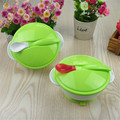 2016 Infants Cutlery Baby Sucker Bowl Binaural Bowl With Spoon Covered Training Children Bowl Sucker Bowl+Spoon Combination