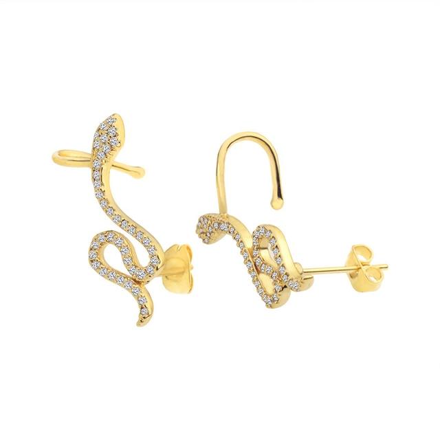 Rose Gold CZ Snake Ear Jacket Earrings For Women Reptile Jewelry Animal Crystal Stud Earrings Dainty.jpg 640x640 - Rose Gold CZ Snake Ear Jacket Earrings For Women Reptile Jewelry Animal Crystal Stud Earrings Dainty Boucle D'oreille Femme 2020