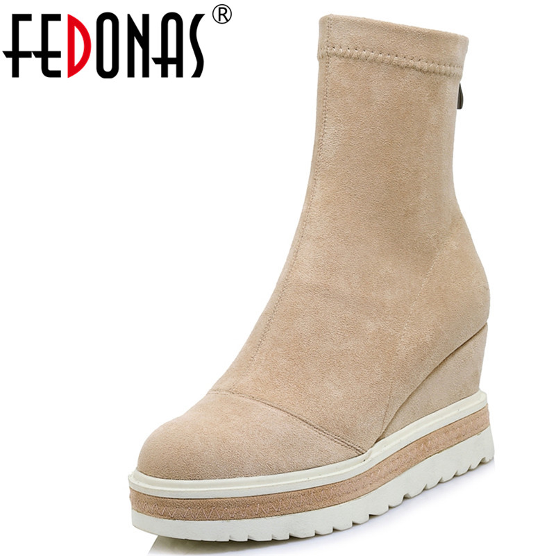 FEDONAS 1Fashion Women Ankle Boots Autumn Winter Warm Suede Leather High Heels Shoes Woman Round Toe Zipper Casual Basic Boots 2018 new arrival genuine leather zipper runway autumn winter boots round toe high heels keep warm elegant women ankle boots l29