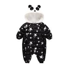 fedc8b90ca6ce Hiver barboteuse de bébé vêtements combinaison Survêtement 3-24Mouth Panda  Nouveau-Né Fille Garçon Vers Le Bas Habineige Enfants.