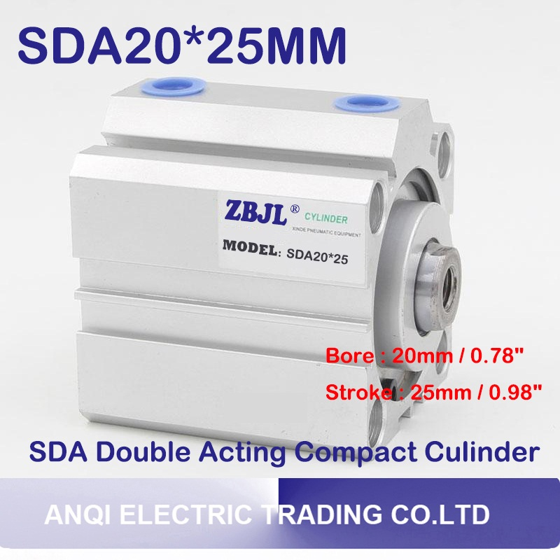Free shipping 1Pcs SDA20x25 20mm Bore 25mm Stroke Double Acting Pneumatic Air Cylinder SDA20*25 Dual Action Air Pneumatic Cylind high quality double acting pneumatic gripper mhy2 25d smc type 180 degree angular style air cylinder aluminium clamps