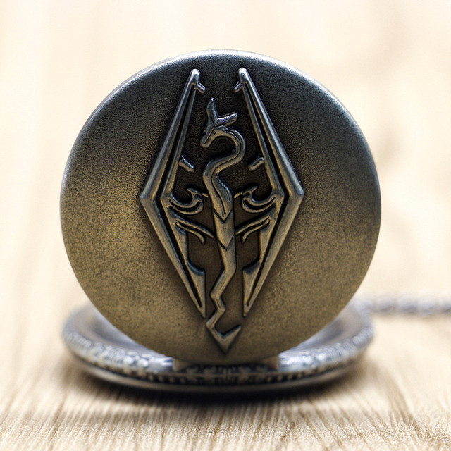 Bronze The Elder Scrolls Skyrim Dragon Pendant Pocket Watch Antique Style Retro Chain Necklace Men Women Gift #TD2037
