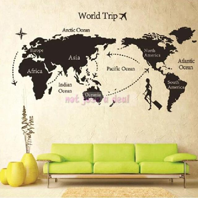 Diy travel world map print removable vinyl wall sticker room decor diy travel world map print removable vinyl wall sticker room decor decal paper sticker gumiabroncs Images