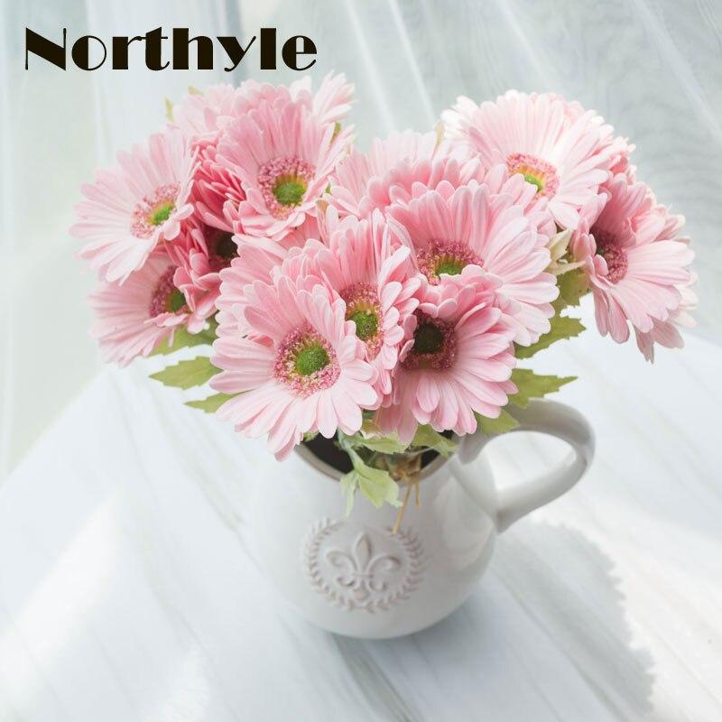 Northyle Umělá Gerbera Real Touch Falešná Daisy Kytice Domů Květinová Dekorace Diy Svatební Květina Chrysanthemum Ornament