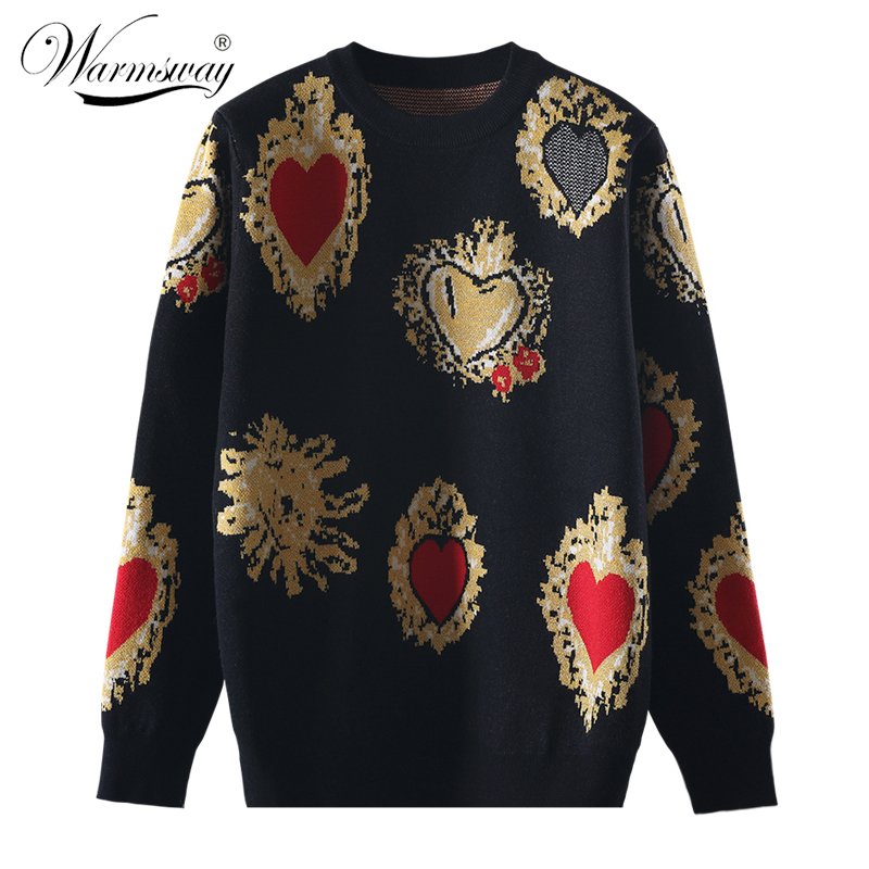 Vintag High Quality Christmas Knitted Sweater Autumn Winter Pullover Gem Heart Lurex Jacquard Knitwear Korean Loose Jumper C-428