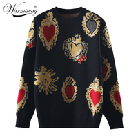 Vintag High Quality Knitted Sweater Autumn Winter Pullover Gem Heart Lurex Jacquard Knitwear Korean Loose Jumper C 428