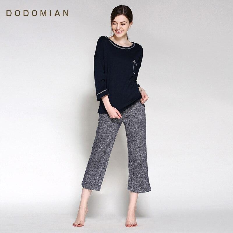 Autumn Pajamas Sets 2016  New Arrival Cotton Lounge Set 2 Piece Suits Black Women Indoor Fashion  Home Clothing