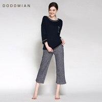 Herfst Pyjama Sets 2016 Nieuwe Collectie Katoen Lounge Set 2 Stuk Past Zwart Vrouwen Indoor Fashion Home Kleding