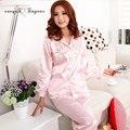 Em estoque de seda pijamas mujer combinaison verão grande tamanho pijama completo manga bordado floral noite pijamas 3 cores