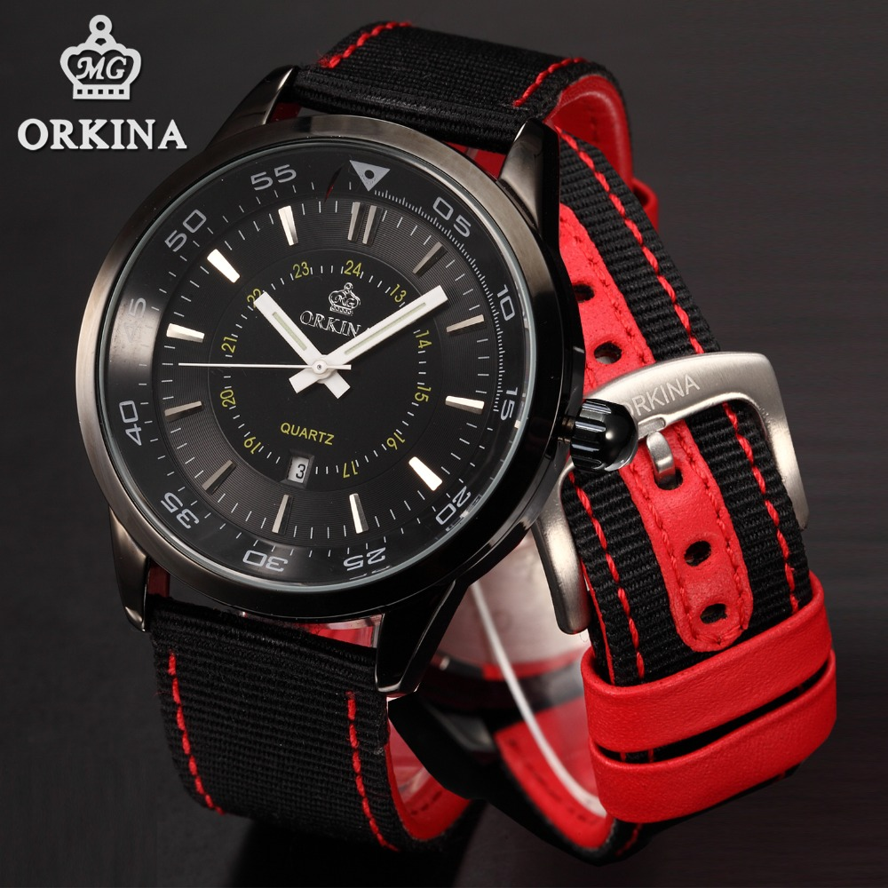 Orkina Black Sports Watch Man 2016 Fashion Analog Quartz-watch Sport Auto Date Red Nylon Strap Clock Male Wrist Watches For Men 6 colors orkina brand male nylon band date display sports quartz relojes mujer 2016 mens black case watch cool herren uhr rot