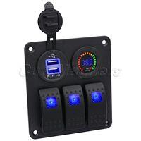 Mtsooning 3 عصابة الأزرق لوحة مفتاح متأرجح مع تيار مستمر 12 فولت الفولتميتر مقبس شاحن الطاقة لسيارة مركبة بحرية RV مزدوجة USB 3.1A
