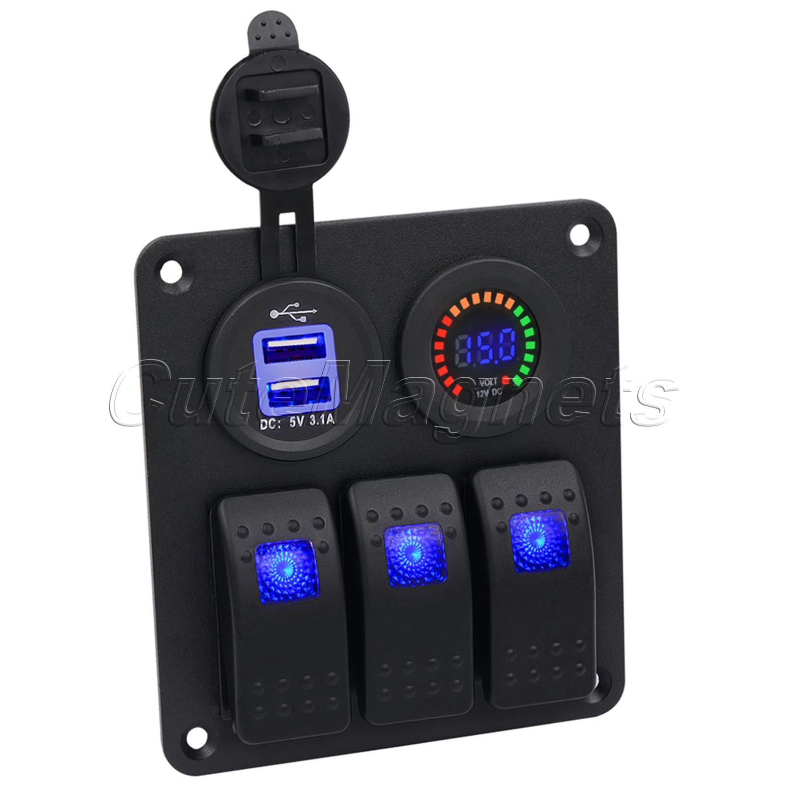 mtsooning 3 Gang Blue Rocker Switch Panel With DC 12V Voltmeter Power Charger Socket for Marine Boat Car RV Double USB 3.1A
