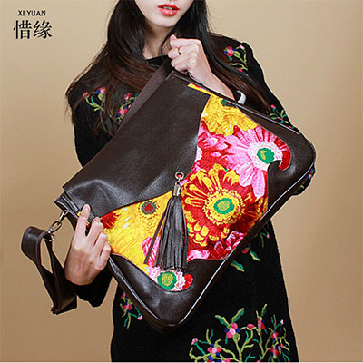 XIYUAN BRAND 2017 Shoulder Bags big Crossbody Bag For Women Handbags national floral zipper Genuine Leather Tassel Messenger bag new genuine leather bags for women famous brand boston messenger bags handbags tassel tote hand bag woman shoulder big bag bolso