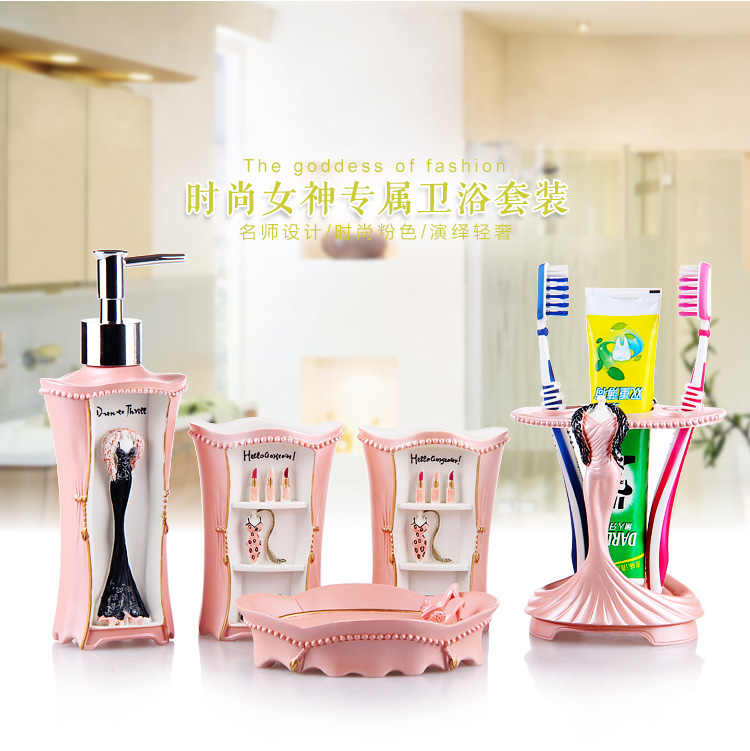 Pretty In Pink Bathroom Set Resin Of Five Pieces Toiletries Kit Accessories