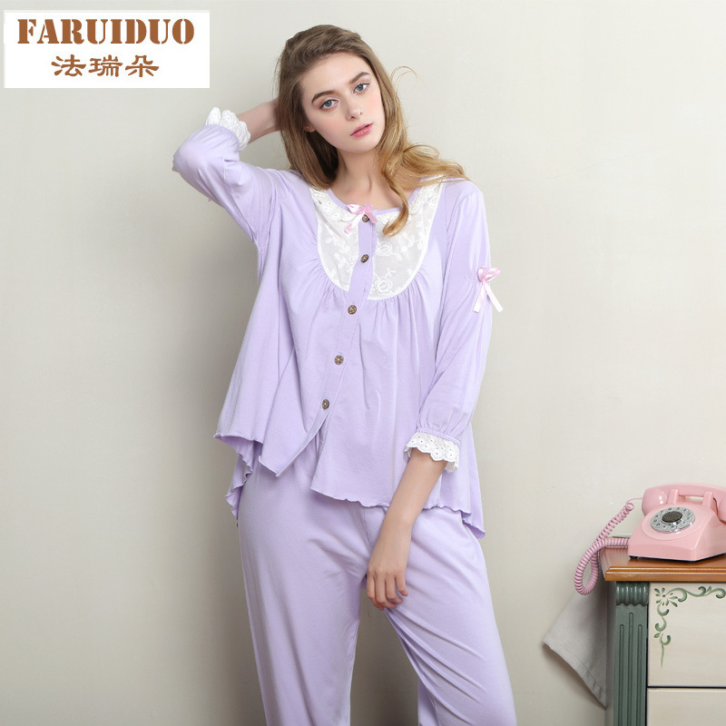 d87ec0817ccc Summer Autumn Women Cute Pajama Sets Women Sweet Lace Long sleeve Pyjama  Sets Cotton Sleepwear Home Clothes-in Pajama Sets from Underwear    Sleepwears on ...