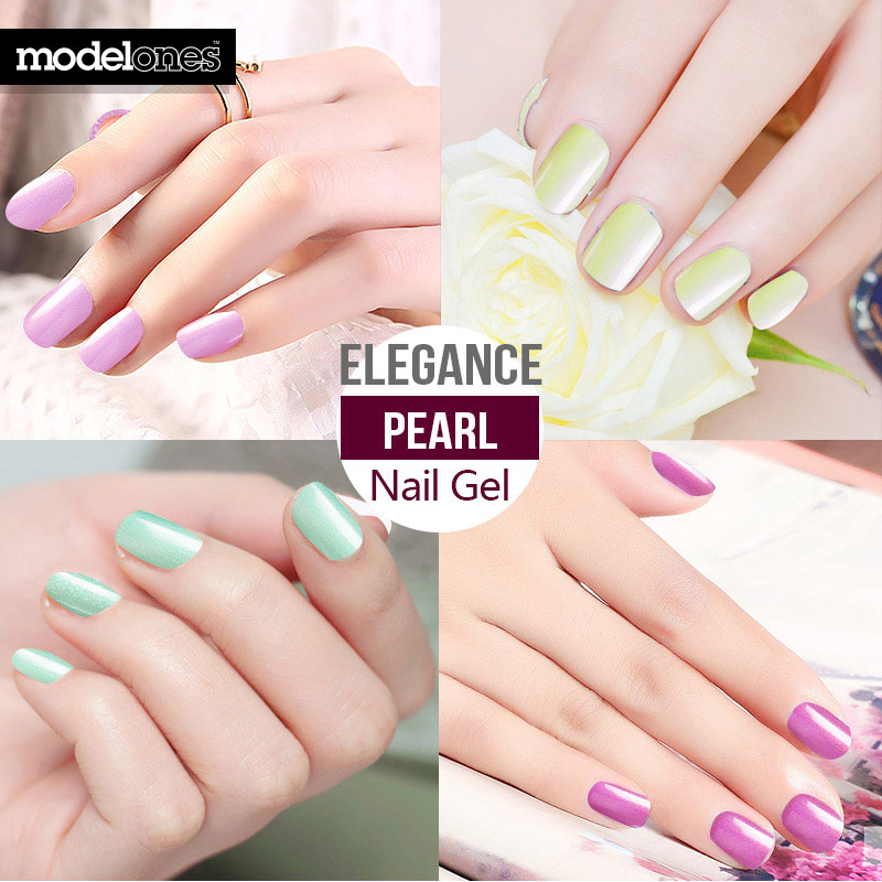 Modelones Nude White Color Gel Polish UV Led Fashion Pearl Nail Gel ...