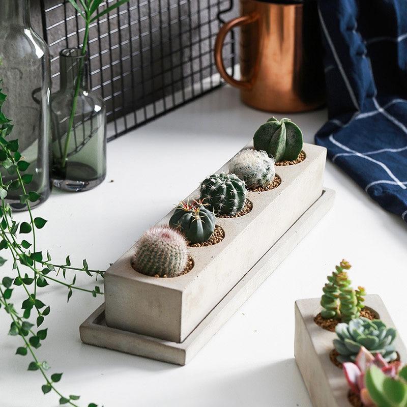 5 cavités fleur pot silicone moules mini plantes Succulentes moule Pot de Fleurs DIY moules planteur