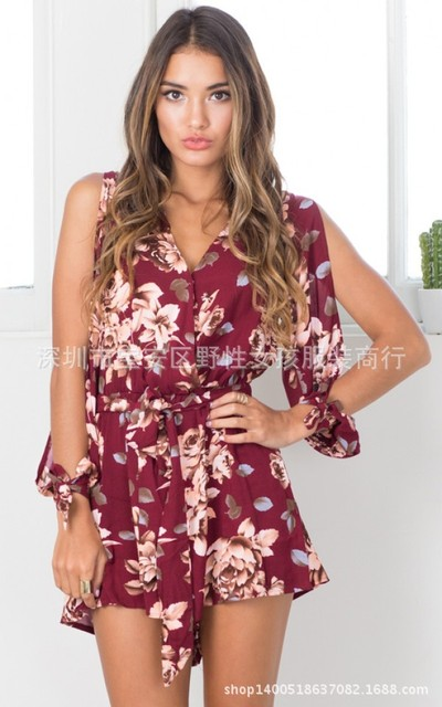 33b2ad79529 combi short 2017 Summer Sexy Women Jumpsuits Rompers Lady Red Floral  Burgundy Bohemian Flower Kimono Playsuits